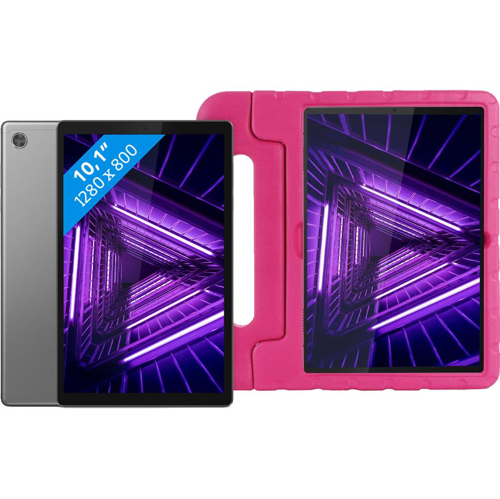 Lenovo Tab M10 HD (2de generatie) 32GB Wifi Grijs + Just in Case Kids Case Roze