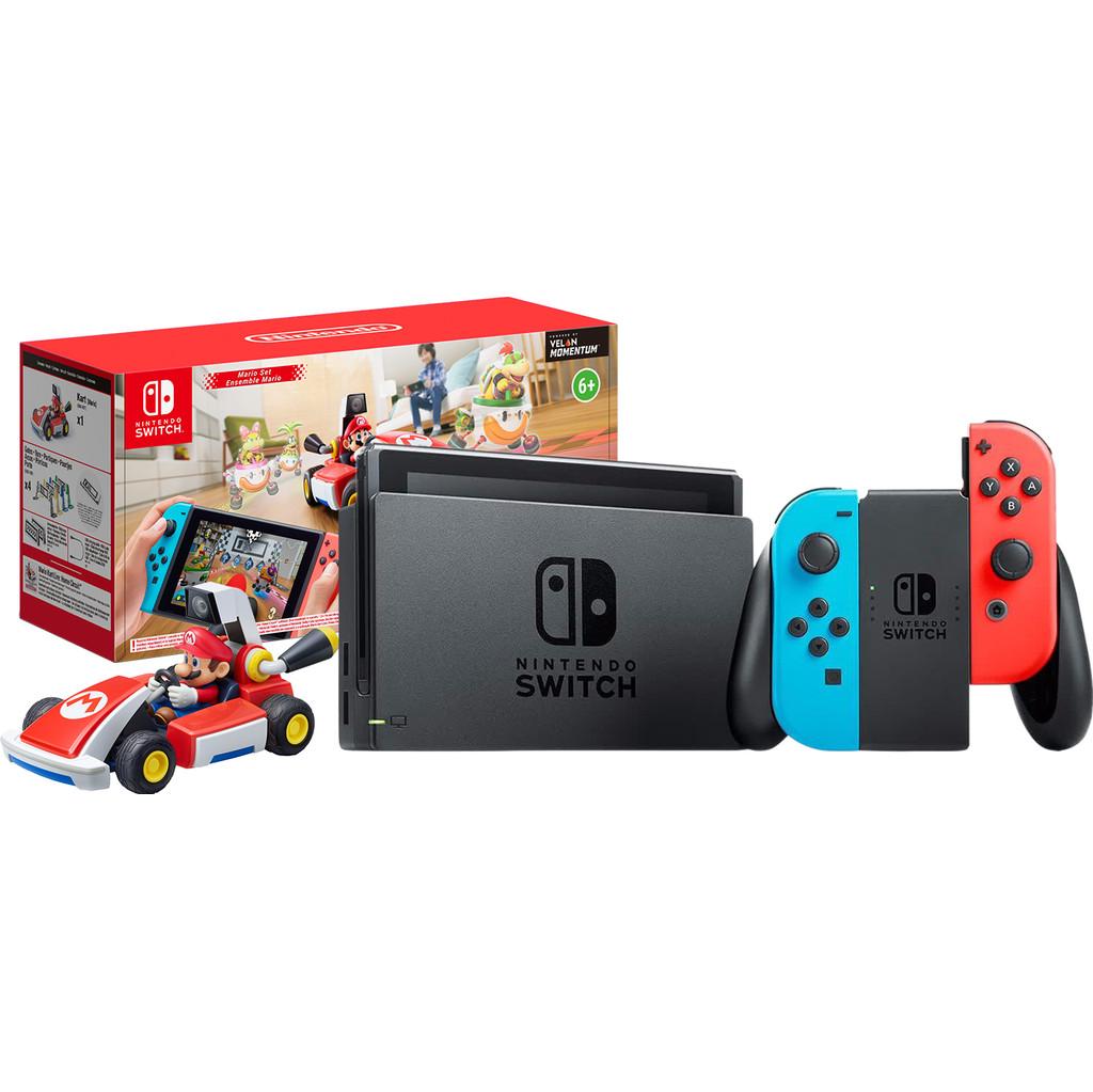 Nintendo Switch (2019 Upgrade) Rood/Blauw + Mario Kart Live: Home Circuit – Mario Set