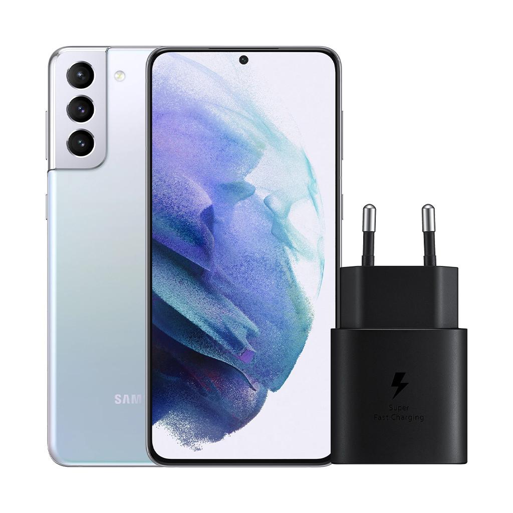 Samsung Galaxy S21 Plus 128GB Zilver 5G + Samsung Snellader Zonder Kabel 25W