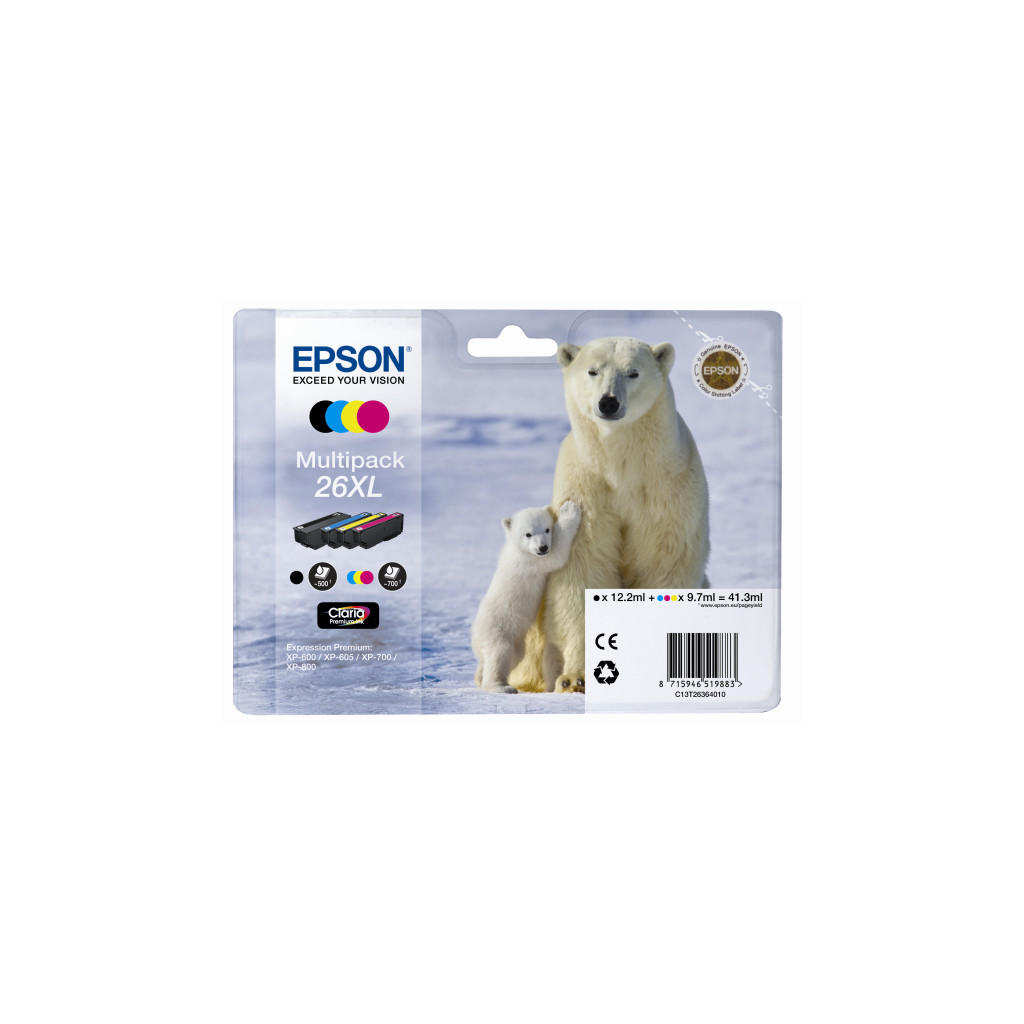 Epson 26 XL Lot de 4 Couleur (C13T26364010)