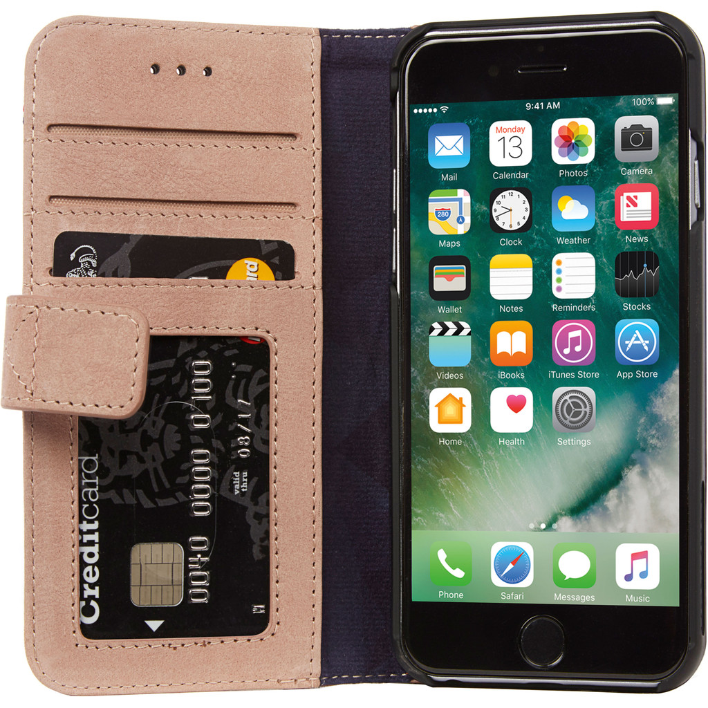 Decoded Wallet Apple iPhone SE 2 / 8 / 7 / 6 / 6s Book Case Leer Roze