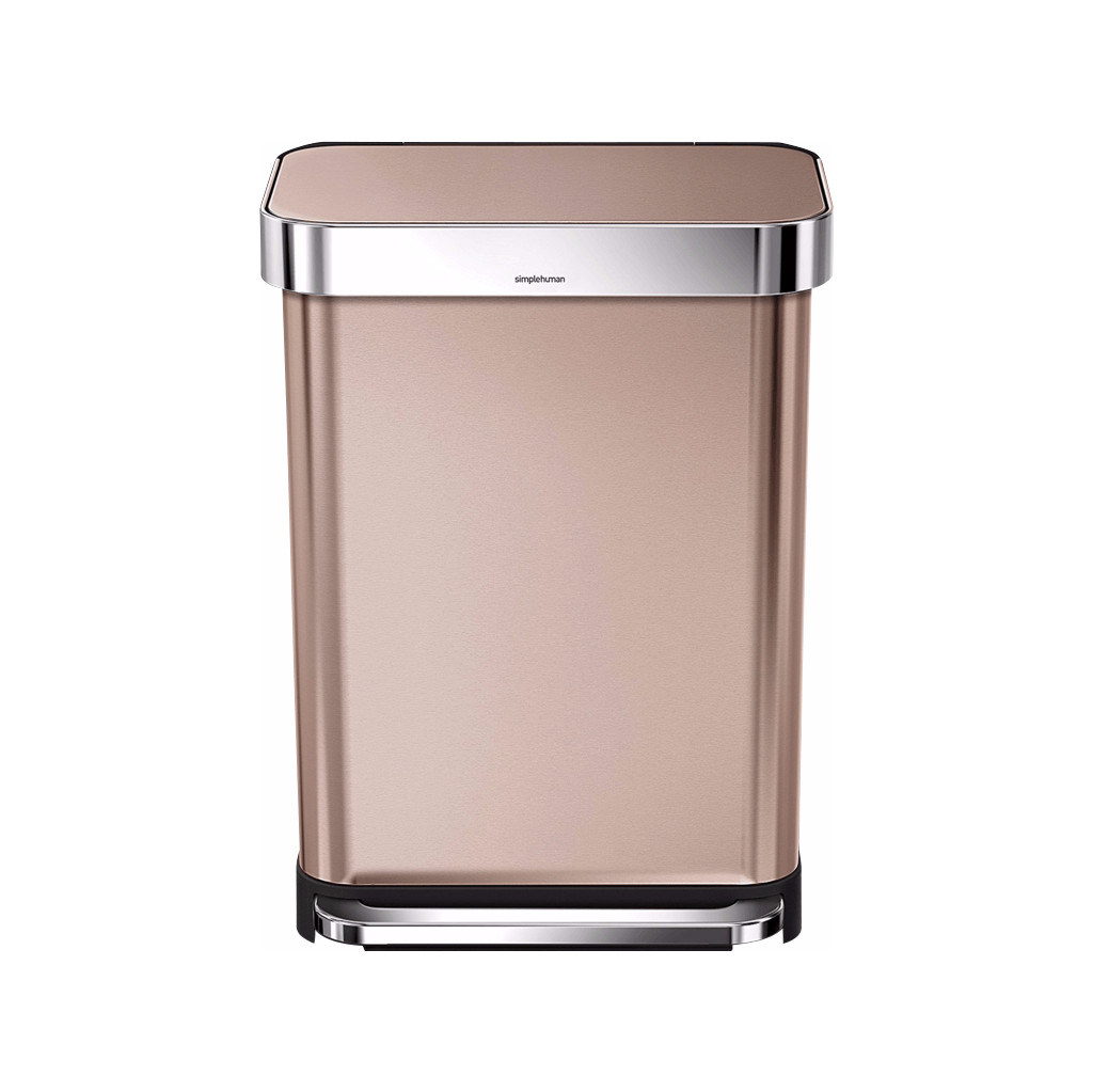 Simplehuman Rectangular Liner Pocket 55 Liter RVS Rose Gold