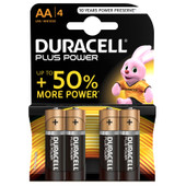 Duracell Plus Power alkaline AA batteries 4 pieces