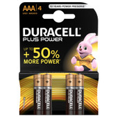 Duracell Plus Power alkaline AAA batteries 4 pieces