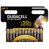 Duracell Plus Power alkaline AAA batteries 12 pieces