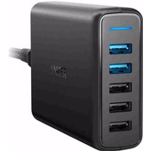 Anker PowerPort Speed met 3 USB Poorten + 2 USB Quick Charge 3.0 Poorten 12A Zwart