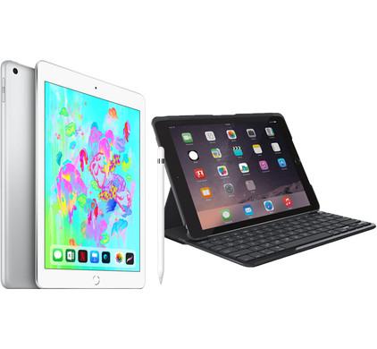 Combipakket - Apple iPad (2018) 128GB Silver + Hoes + Pencil