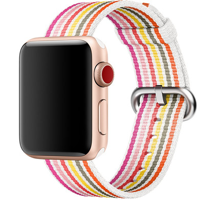 Apple Watch 42mm Nylon Woven Gestreept Roze