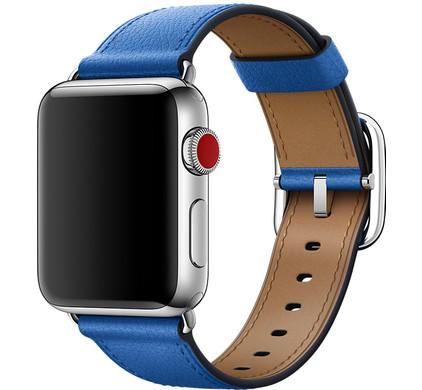 Apple Watch 38mm Klassiek Lederen Polsband Electric Blauw