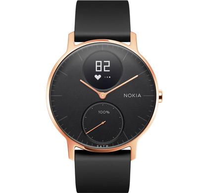 Nokia Steel HR 36mm Rosé Goud/Zwart Siliconen