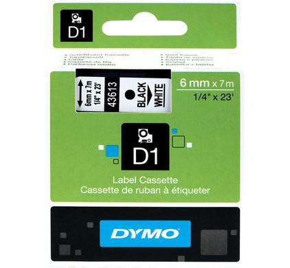 Dymo D1 Naamlabels Zwart-Wit (6 mm x 7 m)