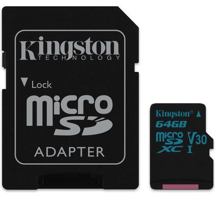 Kingston micro SDXC Canvas Go! 64 Go 90 MB/s + Adaptateur SD