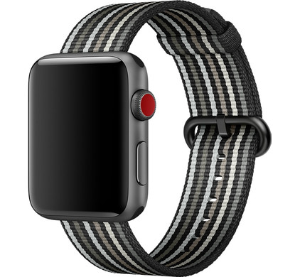 Apple Watch 38mm Nylon Woven Gestreept Zwart