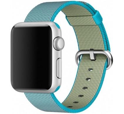 Apple Watch 42mm Nylon Woven Check Horlogeband Lagoon Blauw