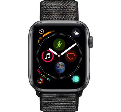 Apple Watch Series 4 44 mm Bracelet Sport Gris sidéral Aluminium/Noir Nylon Main Image
