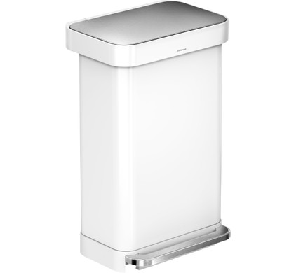 Simplehuman Rectangular Liner Pocket 55 Liter RVS/Wit