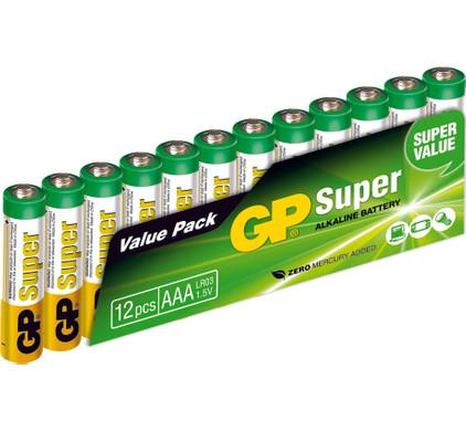 GP Super Alkaline Valuepack 12x AAA Duo Pack
