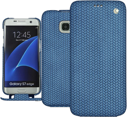 Noreve Tradition Woven Leather Case Samsung Galaxy S7 Edge Blauw