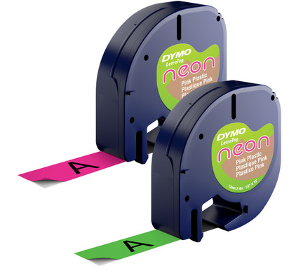 DYMO LetraTag Neon Tape Duo Pack Roze Groen (12mm x 4m)