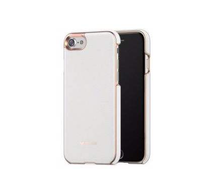 Mozo Back Cover Genuine Leather Apple iPhone 6/6s/7 Wit/Rose Gold