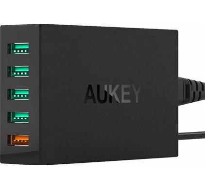 Aukey Thuislader 5x USB Zwart