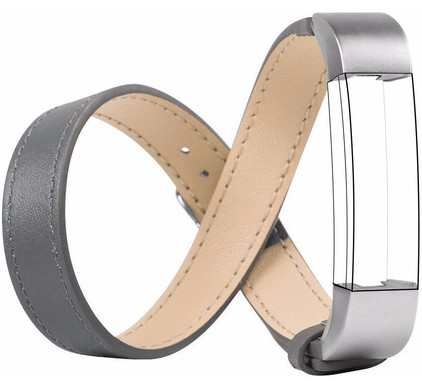 Just in Case Double Tour Leren Watchband Fitbit Alta Grey
