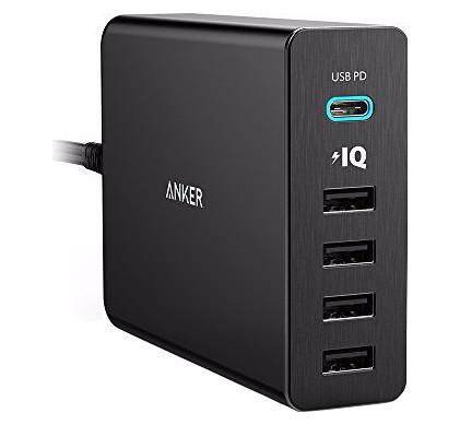 Anker PowerPort+5 met 1 USB-C en 4 USB Poorten Zwart 3A-12A