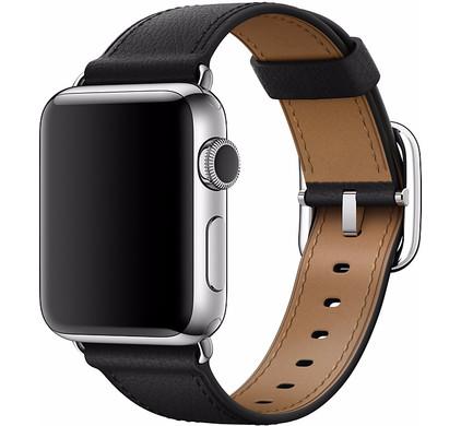 Apple Watch 38mm Klassiek Leren Polsband Zwart