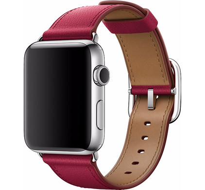 Apple Watch 42mm Klassiek Leren Polsband Roze