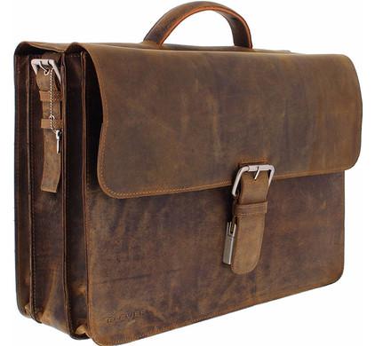 "Plevier Vintage Rundleer Aktetas 17,3"" Bruin Main Image"
