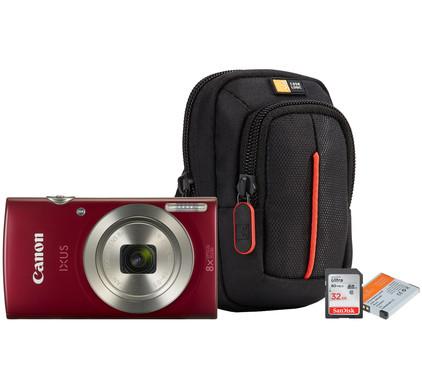 Starterskit - Canon IXUS 185 Rood + Geheugen + Tas + Accu