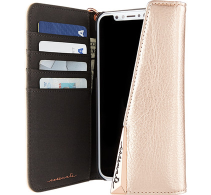 Case-Mate Wristlet Folio Apple iPhone X Book Case Rose Gold