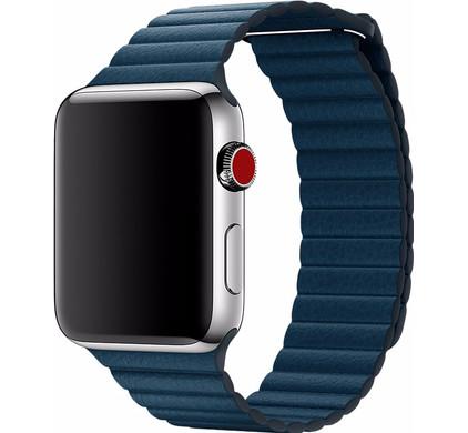 Apple Watch 42mm Leren Horlogeband Blauw Medium