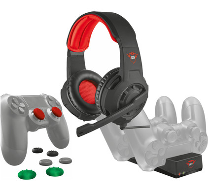 Trust PS4 pakket (Gaming Headset + Thumb Grips + Laadstation)