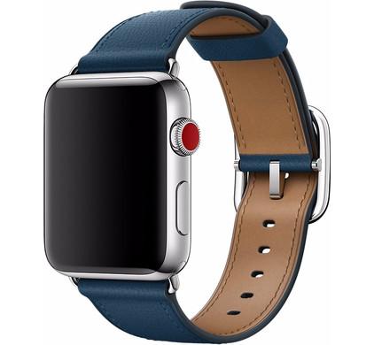 Apple Watch 42mm Klassiek Leren Horlogeband Blauw