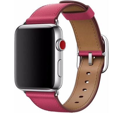 Apple Watch 42mm Klassiek Leren Horlogeband Roze