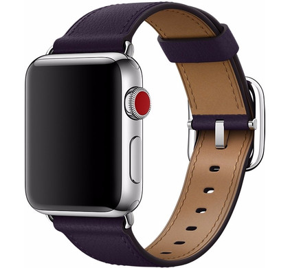 Apple Watch 38mm Klassiek Leren Horlogeband Paars