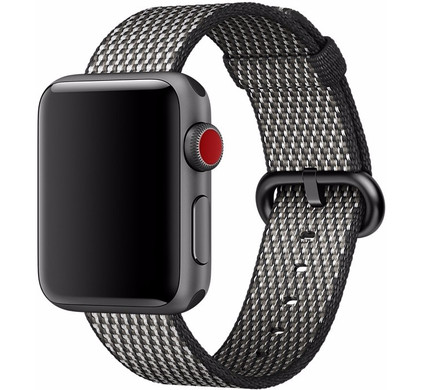 Apple Watch 38mm Nylon Woven Check Horlogeband Zwart