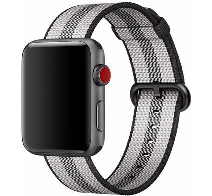 Apple Watch 42mm Nylon Woven Horlogeband Zwart