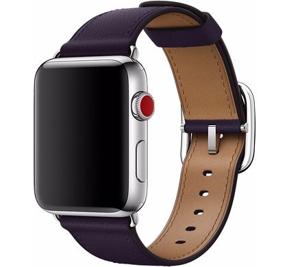 Apple Watch 42mm Klassiek Leren Horlogeband Paars