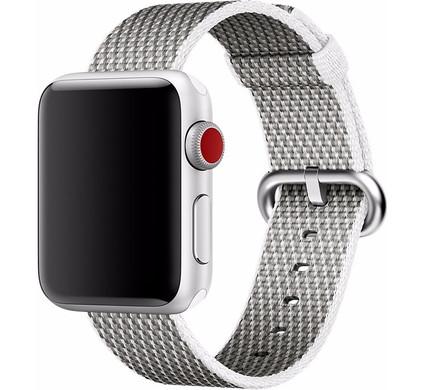 Apple Watch 38mm Nylon Woven Check Horlogeband Wit