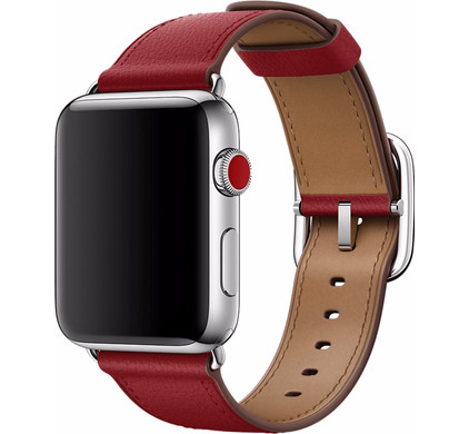 Apple Watch 42mm Klassiek Leren Horlogeband Rood