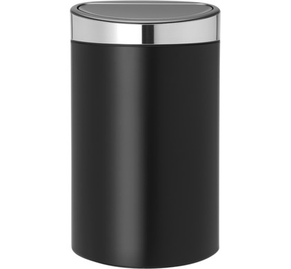 Brabantia Touch Bin 30 L Mat Zwart.Brabantia Touch Bin 40 Liters Matte Black Matt Steel