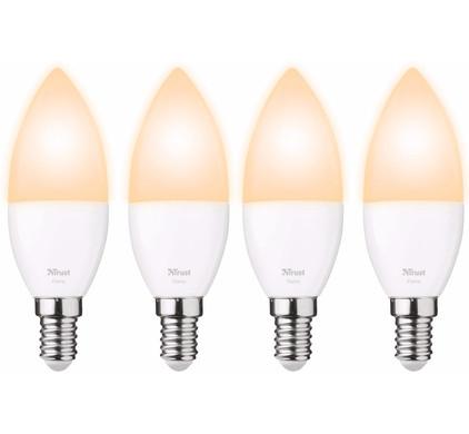 Trust Smart Home E14 Losse Lamp Flame White (4 stuks)