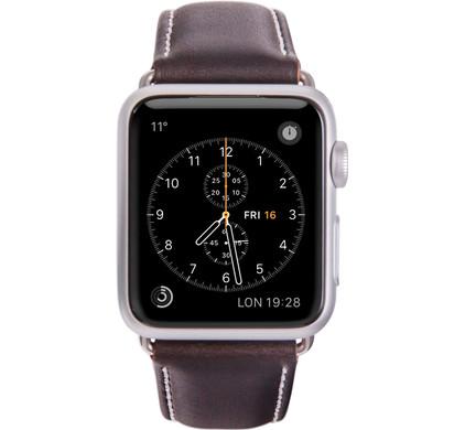 Copenhagen Apple Watch 42mm Leren Horlogeband Bruin/Zilver