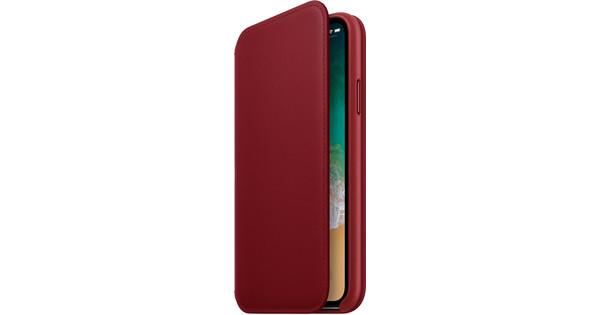 Apple iPhone X Leather Folio Book Case RED