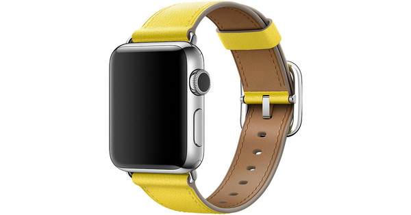 Apple Watch 42mm Klassiek Lederen Polsband Lentegeel