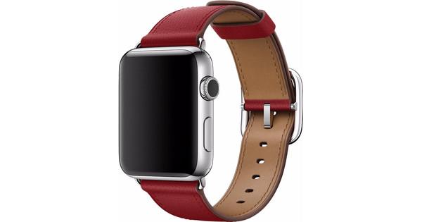 Apple Watch 42mm Klassiek Leren Horlogeband Rood