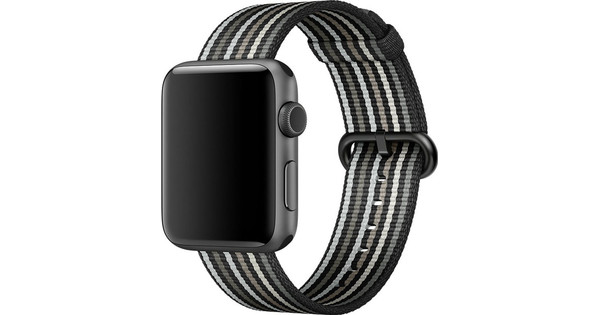 Apple Watch 42mm Nylon Woven Gestreept Zwart