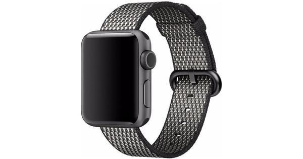 Apple Watch 38mm Nylon Woven Check Horlogeband Zwart